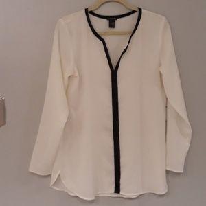 ANN Taylor Long Sleeve Off White & Black Blouse
